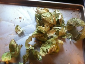 This is where you peel the skins off the tomatillos after they have been baked in the oven