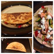 Salmon goat cheese veggie quesadillas
