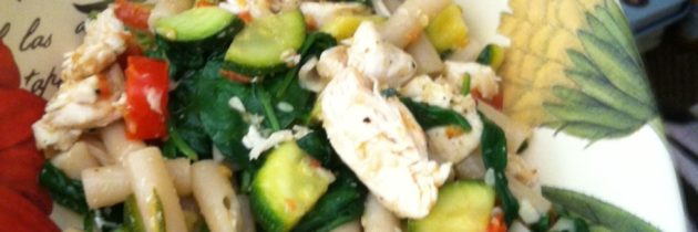 Marni's Herb Grilled Chicken with Roasted Veggies over Brown Rice Pasta